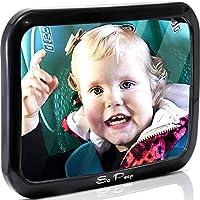 Espejo del asiento trasero del bebé para el automóvil - Vea al bebé en el asiento del automóvil orientado hacia atrás - 100% de garantía de satisfacción de por vida - La mejor seguridad para recién nacidos con el reposacabezas seguro de doble correa -