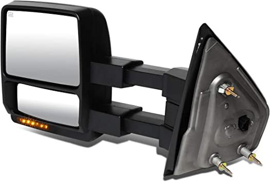 DNA Motoring TWM-054-T888-BK-AM Left+Right Side Powered+Heated+LED Turn Signal Towing Mirror