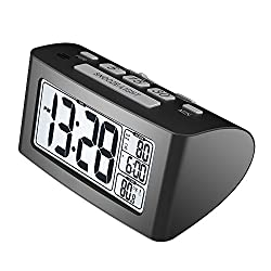 Xihaiying Digital Silent Small Travel Desk Clocks Battery Operated,Large Numbers Bedside Clock Bedroom Snooze,Backlight,Indoor Temperature