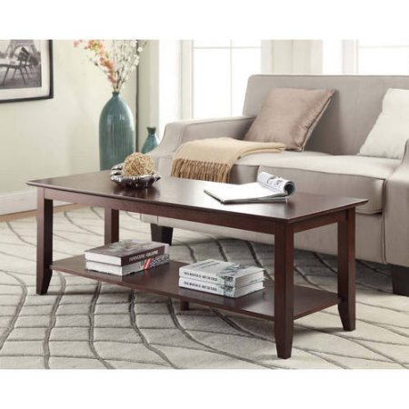 Convenience Concepts American Heritage Coffee Table with Shelf - Glasses Vegas Reading Las