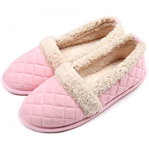 ChicNChic Women Plush House Slippers Ladies Non Slip Indoor Winter Bedroom Shoes Pink 9-10 B(M) US by ChicNChic
