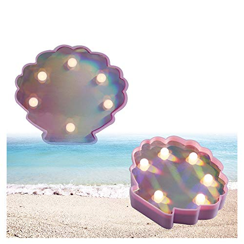 Obrecis Pack of 2 Seashell Night Light Beach Style Marquee Sign, LED Seashell Lamp for Party, Patio, Home, Bedroom ()