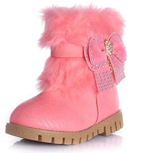 Baby Girls Bowknot Winter Snow Boots (Pink) - 6