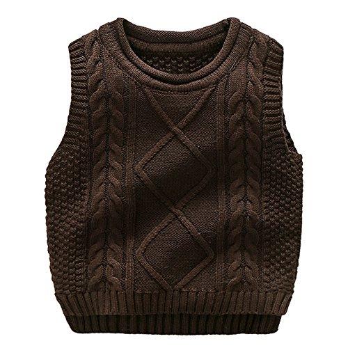 Anbaby Little Boy's Knit Sweater Vest Kids Round Neck Students Pullover Dark Coffee -