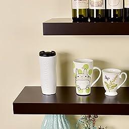 WELLAND 36 Inch Chicago Floating Wall Shelves, Espresso