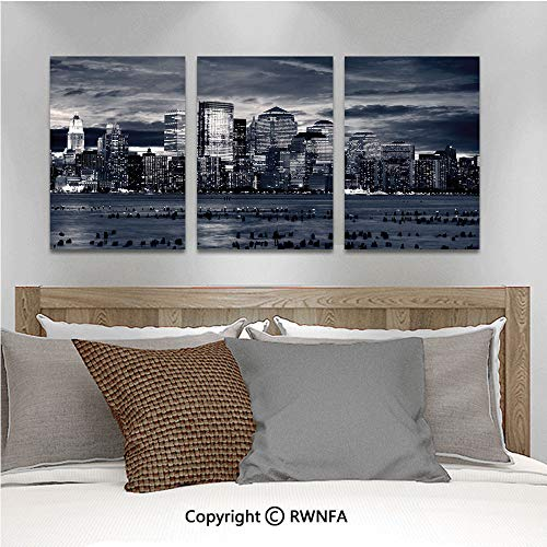 3Pc Creative Wall Stickers Dramatic View of New York Skyline from Jersey Side Clouds Buildings Bedroom Kids Room Nursery Dinning Wall Decals Removable Art Murals,19.7
