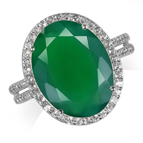 HUGE 7.78ct. Natural Emerald Green Agate & Topaz White Gold Plated 925 Sterling Silver Ring Size 8