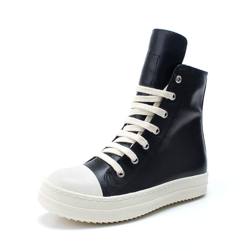 YAN Unisex-Schuhe Hohe Freizeitschuhe Schnürschuh Reißverschluss Plattform Liebhaber Schuhe Herrenschuhe Fitness- und Cross-Training-Schuhe (Farbe   Schwarz Größe   36)