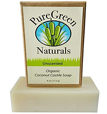 Coconut Castile Soap Bar - Organic Unscented Sensitive Skin - 4 oz - Pure and All Natural