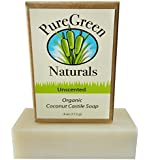 Coconut Castile Soap Bar - Organic Unscented Sensitive Skin - 4 oz - Pure and All Natural