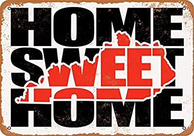 Wall-Color 10 x 14 Metal Sign - Home Sweet Home Kentucky Red - Vintage Look