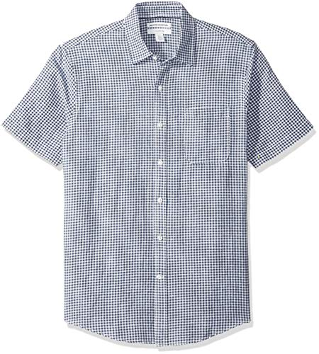 Amazon Essentials Men's Slim-Fit Short-Sleeve Gingham Linen Shirt, Navy, -