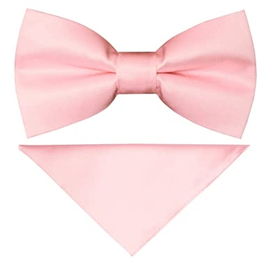 607bade907fa TIES R US Pre Tied Blush Pink Satin Boys Bow Tie and Pocket Square Set  Dickie Bow Set: Amazon.co.uk: Clothing