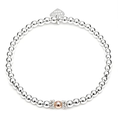 Annie Haak 17cm Seri Rose Gold Bracelet Hand-threaded with 925 Sterling Silver Bead Centrepiece & Heart Charm JUYTR1