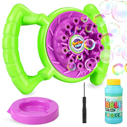 Fostoy Bubble Machine Steering Wheel Automatic Bubble Blower Gun Baby Kids Outdoor Playing Fan Toys
