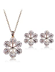 Acefeel New Fashion Snowflake Shape Shining Cubic Zirconia Necklace Earring Jewelry Set S136
