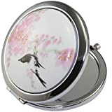 KOLIGHTChinese Landscape Flower Bird Double Sides (One is Normal,Another is Magnifying)Portable Foldable Pocket Metal Makeup Compact Mirror Woman Cosmetic Mirror (Flower+Black Bird)