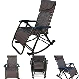 'Amaze' folding portable zero gravity compact easy push back rocking oscillating reclining designer relax chair- BROWN FLOWERS