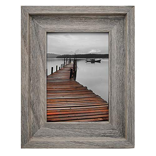 EosGlac Rustic 5x7 Picture Frame, Solid Wood with Glass Front, Wall Mounting or Tabletop, 100% Premium Handmade, Weathered Grey
