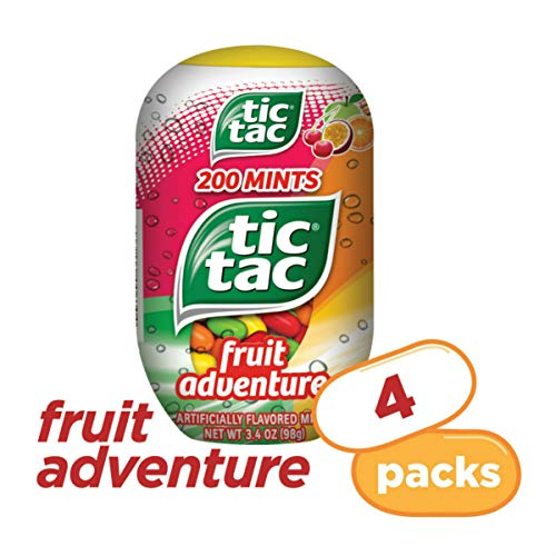 Tic Tac Fresh Breath Mints, Fruit Adventure, 3.4 oz Bottle Packs, 4 Count