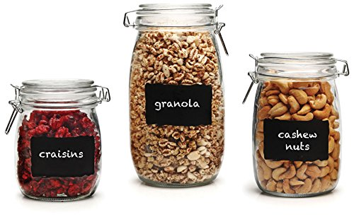- Circleware 66870 Chalkboard Home Glass Canisters with Swing Top Hermetic Airtight Locking Lids Set of 3, Kitchen Food Preserving Containers for Coffee, Sugar, Tea, Cereal, 5.5