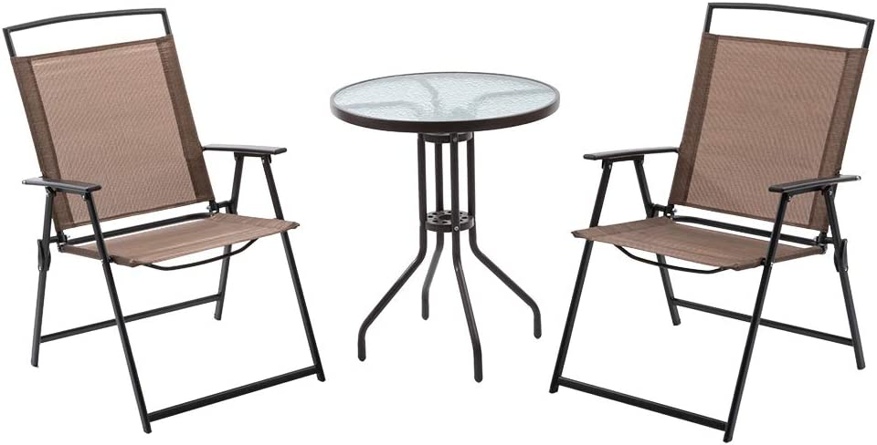 Crestlive Products 3PCS Patio Bistro Set with 2 Folding Chairs & Table Outdoor Dining Furniture w/Round Textured Tempered Glass Tabletop, Rust-Free Steel Frame, Space Saving for Balcony, Yard (Brown)