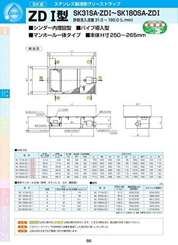 ZDⅠ型 SK85SA-ZDⅠ ステンレス製蓋付 ステンレス製蓋付  B072PQRPP3