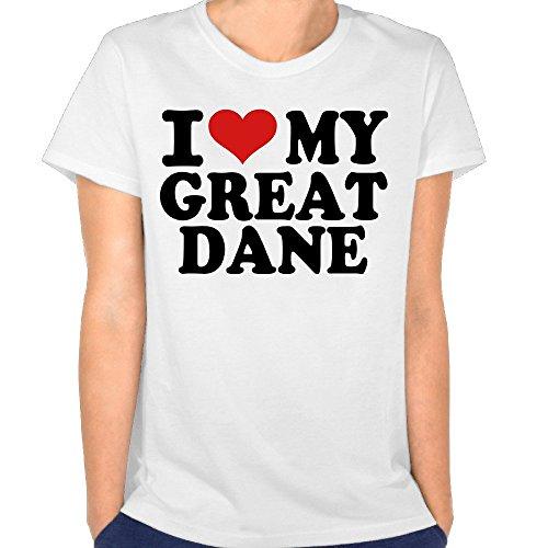 Just Tinge Women's Fun I Love My Great Dane 2016 Short Sleeves T Shirts Crew Neck M White