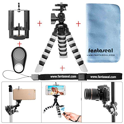 Cell Phone Tripod Portable Tripod Stand Flexible Mini Gorillapod w/Bluetooth Remote Control Shutter Compact Camera Tripod Holder for iPhone X/8/7plus/6s plus/Samsung S 9/S 8/Note 8 Smartphone+Camera Fence Shooting Bag