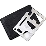 Multi Survival Tool, 11 in 1 Stainless Steel Credit Card Survival Tool for Can and Beer Bottle Opener DIY Screwdriver Blades