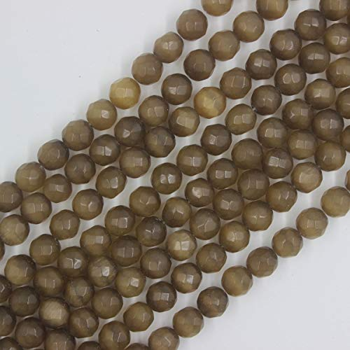 8mm Brown Cat Eye Beads Faceted Round Loose Gemstone Beads for Jewelry Making Strand 15 Inch ()