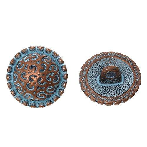 pepperlonely-brand-10pc-metal-shank-button-round-antique-copper-spray-painted-blue-single-hole-patte