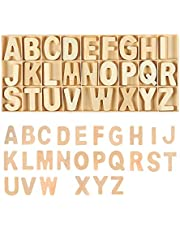 Wooden Capital Letters, 130Pcs English Letters in a Box, DIY Natural Wooden Alphabet Natural Color