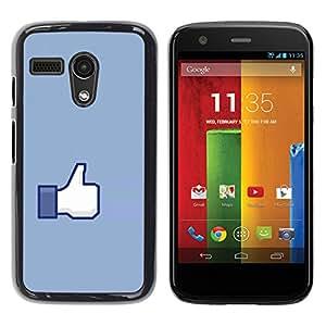 Qstar Arte & diseño plástico duro Fundas Cover Cubre Hard Case Cover para Motorola Moto G1 / X1032 ( Hand Sign Ok Thumb Up Blue Symbol Simple)