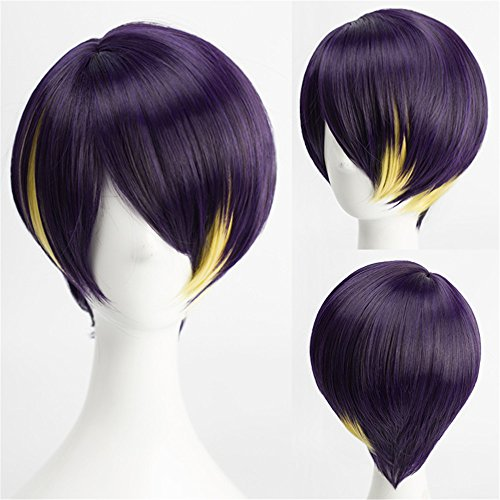Anime Cosplay Wig Short Straight Purple Black Yellow Mixed Hair Synthetic Wigs with free Cap