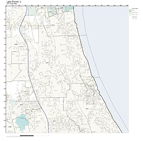Amazon.com: ZIP Code Wall Map of Lake Forest, IL ZIP Code Map Not ...