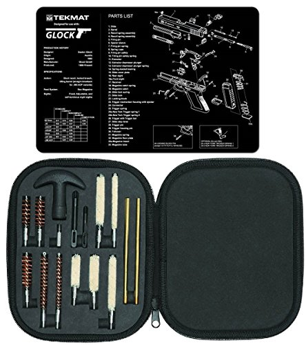 Ultimate Arms Gear GLOCK Gunsmith and Armorer's Cleaning Work Bench Gun Mat Plus Chamber Barrel Care Supplies Kit Deluxe, Handgun Pistol Cleaning Kit Carry Case, 17 Piece