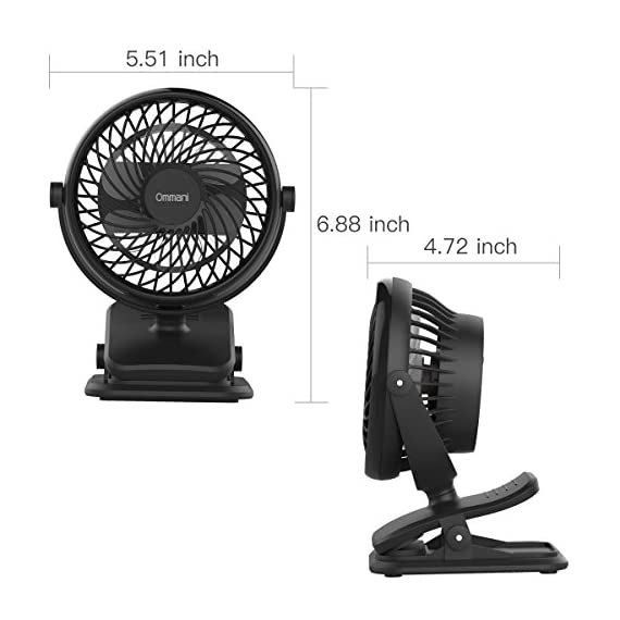 Clip on Fan Battery Operated Fan, USB or 2600mAh Rechargeable Battery Powered Small Desk Fan Whisper Quiet with 4 Speed Swivel 360° Portable Stroller Fan for Baby Stroller Home Office Camping, Black 9 【2018 Newest Upgraded Clip On Desk Fan】Ommani clip on fan optimized the fluid mechanics structure to make enhanced airflow but operate quieter. Sleek design with smoother fringe and more stable head that won't get loose easily, really a neat personal fan makes you cool. 【4 Speeds, Powerful Motor, Whisper Quiet】Preferably 4 speeds from breeze to strong wind for all your needs. Powerful brushless & rust-less copper-core motor makes strong wind up to 80ft/s like sticking your head out the window when you're on the freeway, while being more durable and quieter, minimal noise low to 30db, won't bother even your baby's sleep. 【USB or 2600mAh Rechargeable Battery Powered】Upgraded with the best quality rechargeable & replaceable battery, last 3 - 8 HOURS depends on the wind speed. It can work and charge at the same time by laptop, power bank or USB charger via the supplied micro USB cord, which saves your money and hassle of buying batteries.