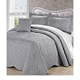 4pc 120 X 120 Grey Oversized Damask Bedspread King Floor, Polyester, Hangs Over Edge Gray Floral Bedding Drops Side Bed Frame Drapes Large Extra Wide Long French Country Pattern