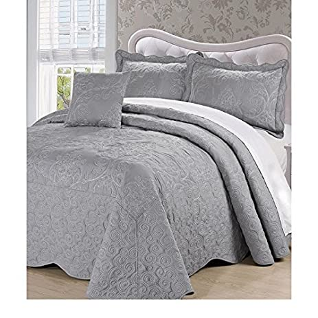 4pc 110 X 120 Grey Oversized Damask Bedspread Queen Floor, Polyester, Hangs  Over Edge
