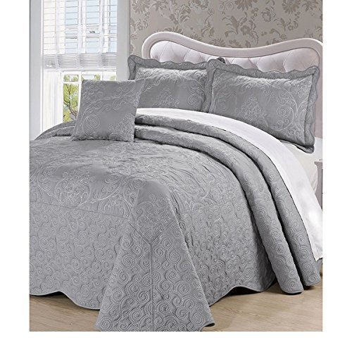 4pc 120 X 120 Grey Oversized Damask Bedspread King Floor, Polyester, Hangs Over Edge Gray Floral Bedding Drops Side Bed Frame Drapes Large Extra Wide Long French Country Pattern by OSD