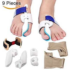 MAKARTT 9 in 1 Bunion Corrector & Bunion Relief Kit Treat Pain in Hallux Valgus- Bunion Pads, Splint, Bootie, Protector, Guard for Men and Women