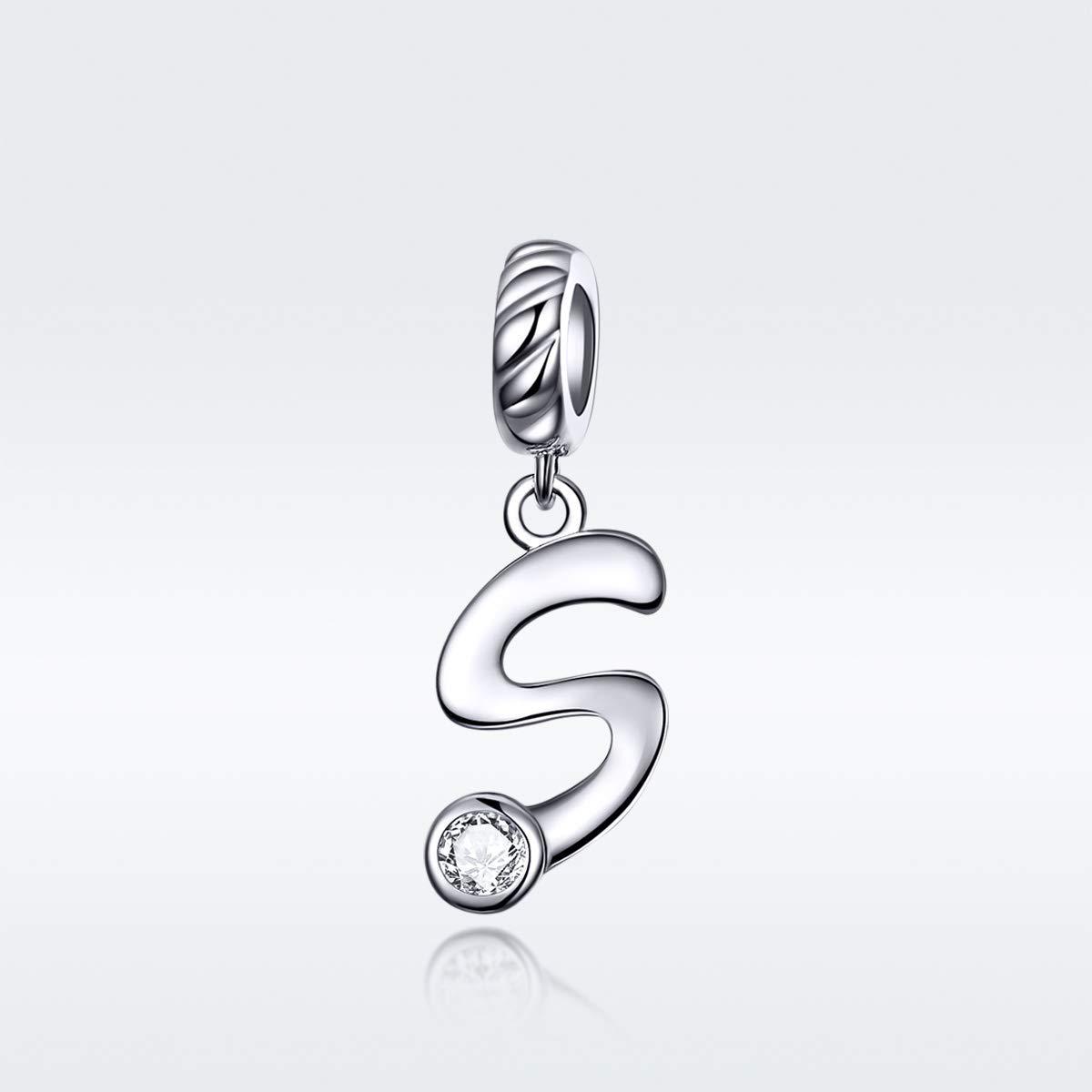 CHENGMEN Alphabet Letter A-Z Pendant with Clear Cubic Zirconia 925 Sterling Silver Charms European Bracelets Compatible