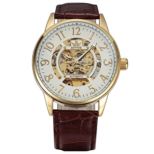 Men, mechanical watches, automatic, casual, personality, PU leather, 0222