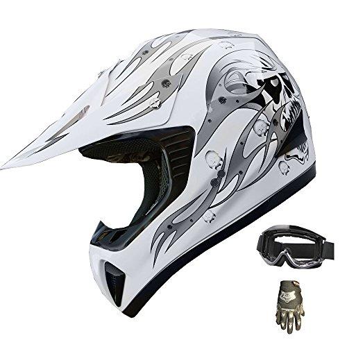ATV Motocross Helmet Dirt Bike Motorcycle A81 White/Silver +gloves+goggles (M)