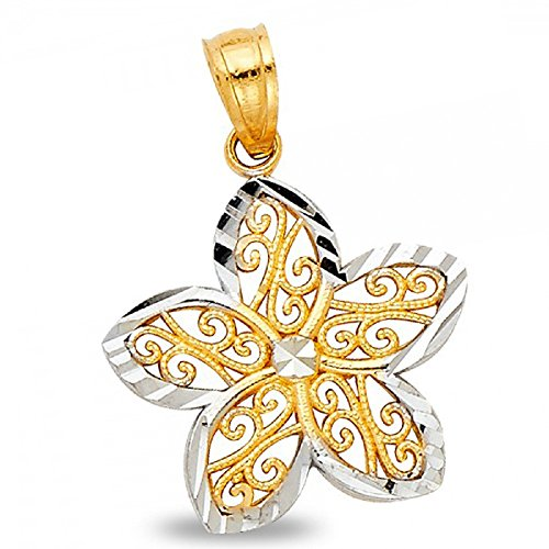 14k Two Tone Charms - Flower Pendant Solid 14k Yellow White Gold Charm Diamond Cut Polished Fancy Two Tone 17 x 18 mm