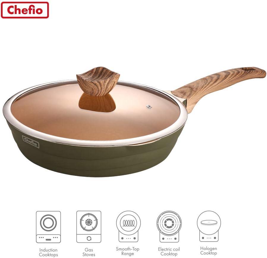 "CHEFIO 10"" Frying Pan with Lid, Nonstick Fry Pan with Granite Stone Coating, Ergonomic Bakelite Handle, induction Compatible (26cm), Modern Design"