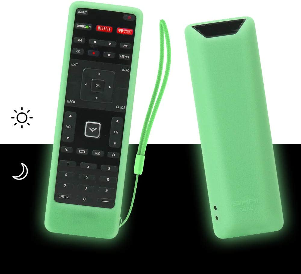 SIKAI Remote Case Compatible with Vizio XRT122 Smart TV Remote Silicone Case for VIZIO Smart LCD LED TV Remote [Shock Proof] Silicone Cover for Vizio XRT122 Remote with Lanyard (Glow in Dark Green)