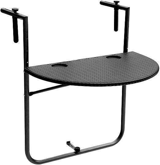 IKAYAA - Mesa Plegable Ajustable para balcón o Patio, Mesa de Comedor o jardín: Amazon.es: Jardín