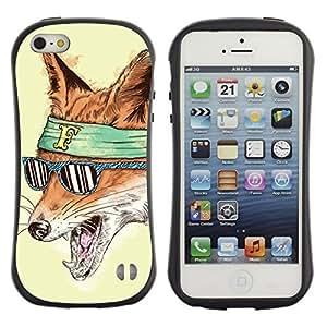 Hybrid Anti-Shock Bumper Case for Apple iPhone 5 5S / Hipster Fox & Sunglasses wangjiang maoyi